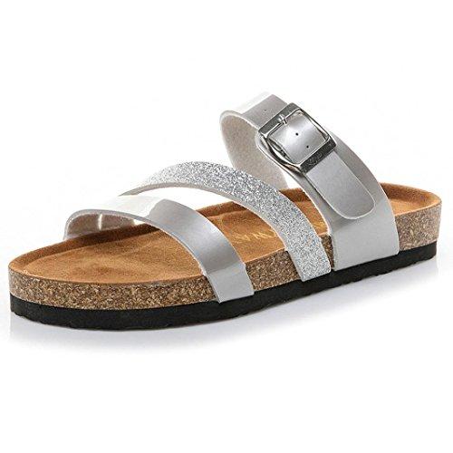 Zapatos Corcho Chanclas Y Planas Dedo Fiesta Gruesa Sandalias De De Boda Playa Playa Suela Sandalias Correa del Lentejuelas Cu del Naturazy Cruzar a Plata De Pie Zapatillas De 6qTdSTx