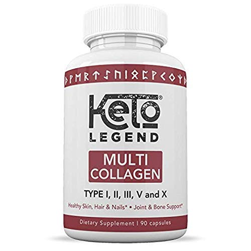 Multi Collagen Peptides Pills for Women and Men - Hydrolyzed Collagen Protein Supplements for Anti-Aging, Healthy Hair, Joints and Bones - 90 Multi Collagen Capsules 1500 mg by Keto Legend