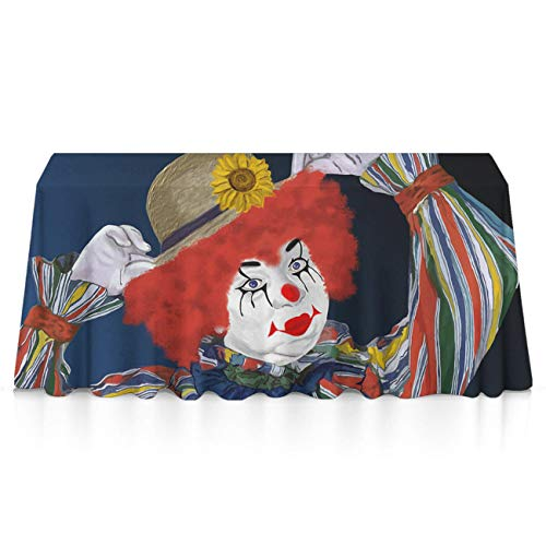 GLORY ART Halloween Funny Clown Rectangle Tablecloth Water Resistant Spill Proof Table Cloth 52x70 inches for Indoor or Outdoor Parties,Dinner,Wedding, Birthday, Picnic, X-mas, Holiday]()