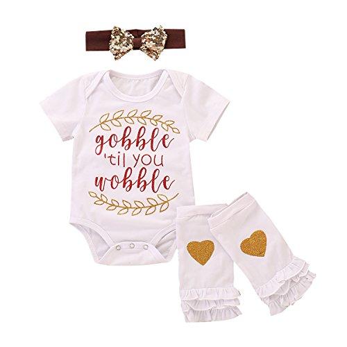 Treafor Baby Boy Girl Short Sleeve Letter Print Bodysuit Romper + Ruffle Leg Warmer + Sequin Headband (0-3 M, White)