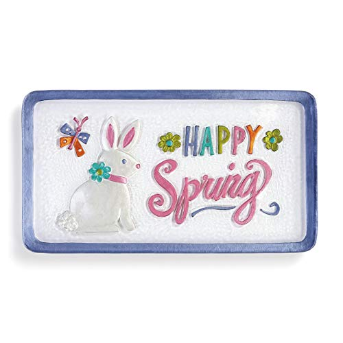 Happy Spring Bunny Floral Purple 15 x 8 Handpainted Glass Easter Platter