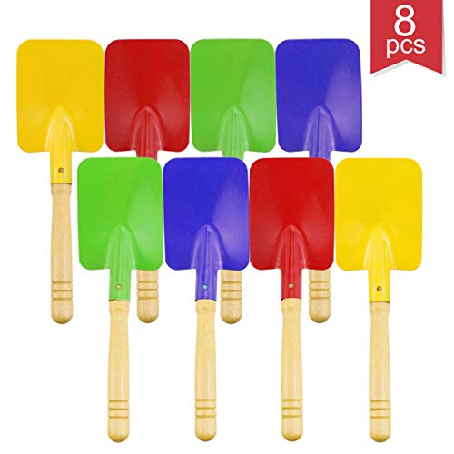 "Faxco 8 Pieces 8"" Toy Shovels,Mini Shovel Kids Garden Tools,Wooden Handle Beach Shovels Garden Shovels"