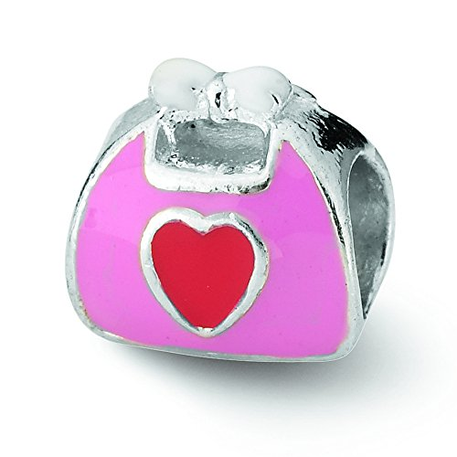Purse Pink Enameled (Sterling Silver Reflections Pink/Red Enameled Purse Bead)