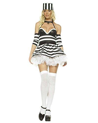 Sexy Jailbait Theatre Costumes Prisoner Convict Black White Sizes: XS (Sexy Hula Costume)