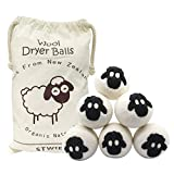 Wool Dryer Balls - Pack of 6 - Stwie Reusable Natural Fabric Softener, Large Felted Wool Laundry Balls to Save Drying Time and Reduce Wrinkles