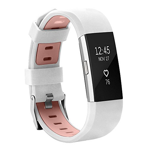 Alritz Band for Fitbit Charge 2, Soft Elastomer Replacement Strap Durable Fitness Accessory Wristband for Fitbit Charge 2, Large Small Available (Elastomer Strap)