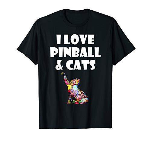 Pinball Cat Paw Gift T-Shirt I Love Pinball & Kitty Cats