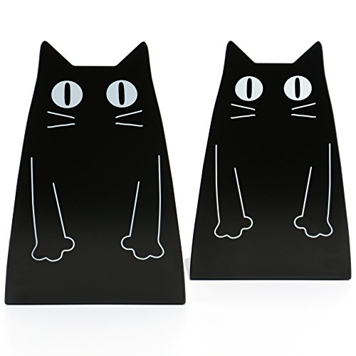 Fasmov Cartoon Cat Bookends Nonskid Bookend,1 Pair(Black) by Fasmov