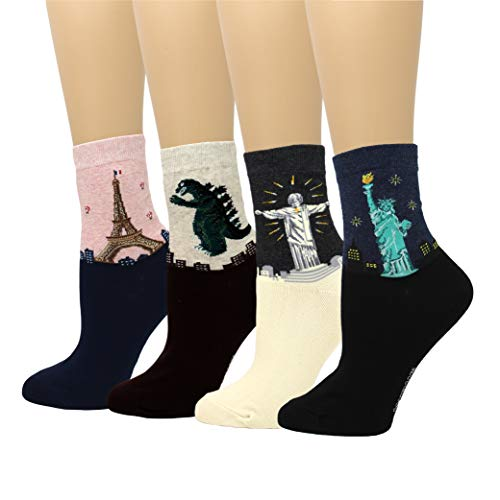 LIVEBEAR 4/8 Pairs Womens Cute Famous Paintings Art Statues Novelty Casual Cotton Crew Socks Made In Korea, Mother's Day Gift
