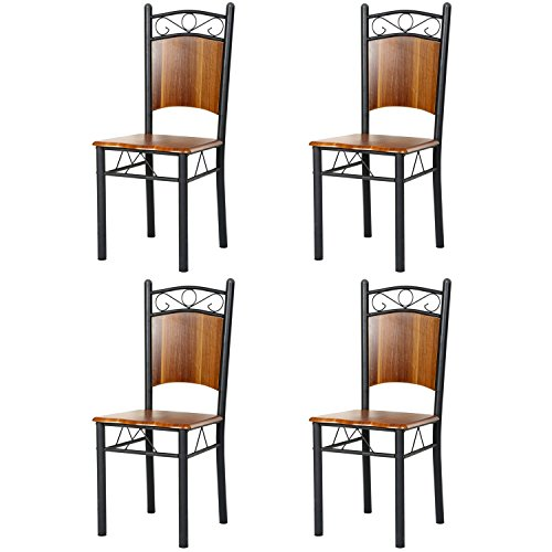 Homdox Dining chairs Bistro chairs Café chairs Back Hardwood Metal Restaurant Chairs, Brown (set of 4)