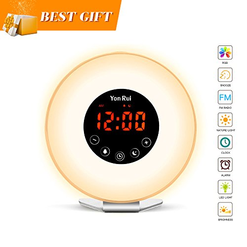 Wake Up Light Alarm Clock - JONYJ Sunrise Alarm Clock with 7 Color Light - Sunrise Sunset Simulator With Night Light - Nature Sounds with FM Radio Alarm - Snooze Function Alarm Clock