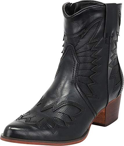 Cambridge Select Women's Western Cowboy Pointed Toe Chunky Stacked Heel Ankle Boot,9 B(M) US,Black PU
