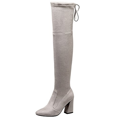 Latasa Womens Pointed-toe Block Heel Over The Knee Boots Light Grey Zlgt6qND