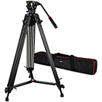 VILTROX VX-18M Professional Heavy Duty Video Camcorder Tripod with Fluid Drag Head and quick release plate , 74 inch ,Max loading 10KG, with Carrying bag,Horseshoe Shaped bracket