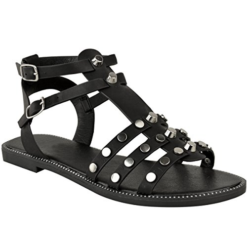 Gladiator Holiday Leather Faux Flat Low Heel Studded Sandals Womens Black Strappy Ladies Casual BYAwqBS