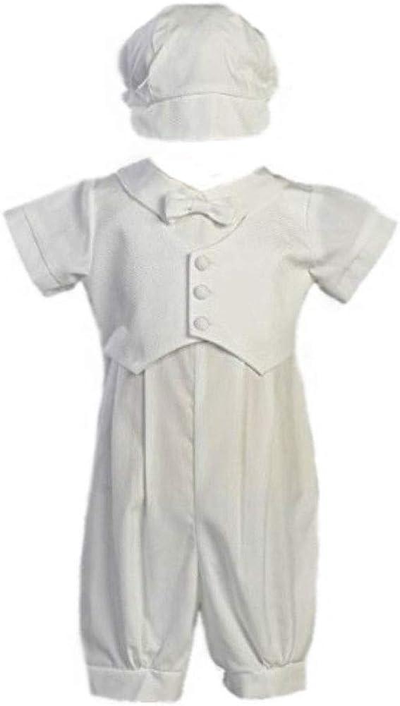 Boy's Poly Cotton Christening Baptism Romper with Pique Vest