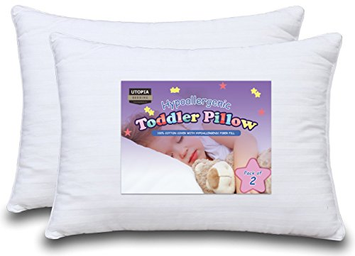 Dreamy Baby Pillow - Two Toddler Pillow Bundle, 100% Cotton Cover, Delicate, with Hypoallergenic Filling, For Boys & Girls - Utopia Bedding