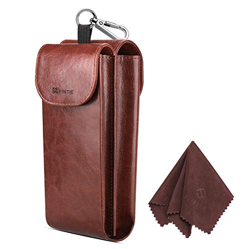 Fintie Double Glasses Case with Carabiner Hook, Semi Soft Vegan Leather Eyeglass Case Anti-scratch Sunglasses Pouch, Brown ()