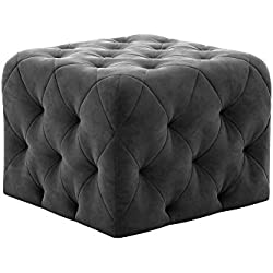 Novogratz Vintage Tufted Upholstery Design, Square Ottoman - Grey Velvet