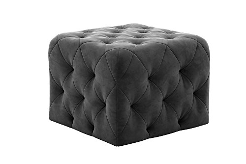 Novogratz Vintage Tufted Upholstery Design, Square Ottoman – Grey Velvet
