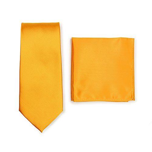 - Bows-N-Ties Men's Solid Necktie and Pocket Square Set (Golden Saffron)