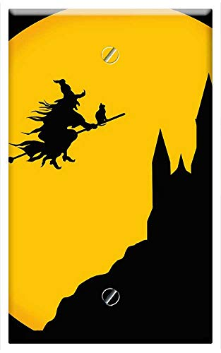 Single-Gang Blank Wall Plate Cover - Castle Witch Night Haloween Background Card -