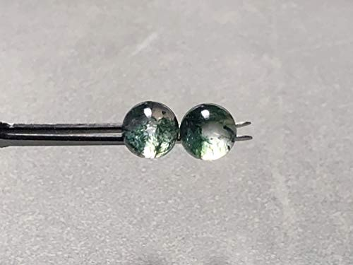 8mm Moss Agate Doublet Gemstone and Sterling Silver Post Earrings ()