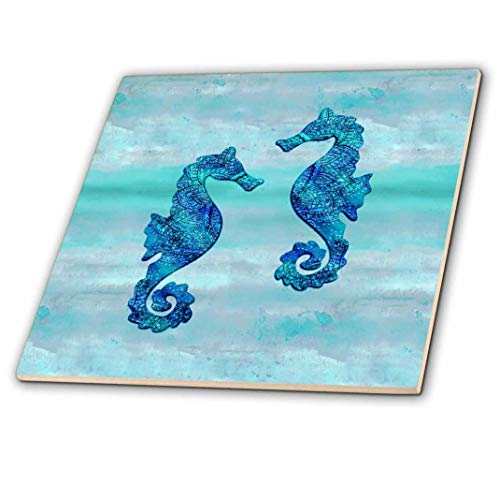 3dRose Seahorses Couple Blue Ink 6 inches Decorative Tiles, Ceramic (Tiles Ink)