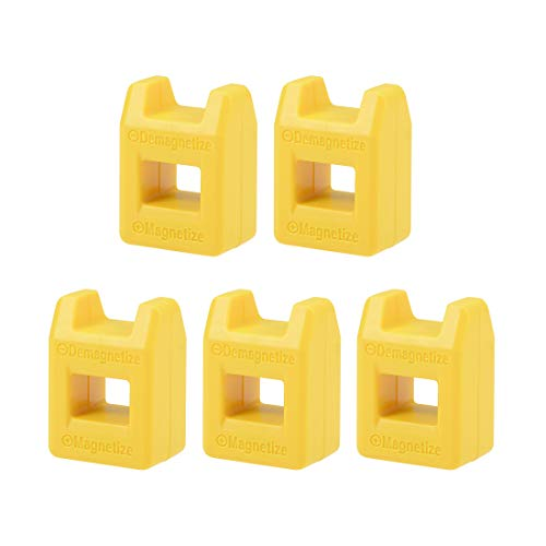 uxcell 5pcs Magnetizer Demagnetizer for Screwdriver Bits Tips Screw Driver Magnetic Practical Pick Up Tool, Yellow