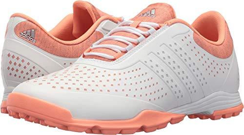 adidas Women's Adipure Sport Golf Shoe, White/Aero Blue/Chalk Coral, 7.5 Medium US