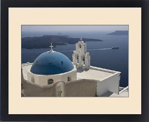 Framed Print of Europe, Greece, Santorini. Greek Orthodox church and white bell tower overlook a by Fine Art Storehouse