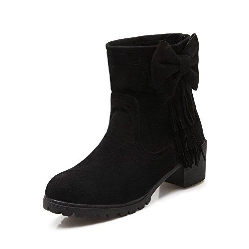 AllhqFashion Mujeres Gamuza(Imitado) Caña Baja Sólido Sin cordones Tacón Medio Botas Negro