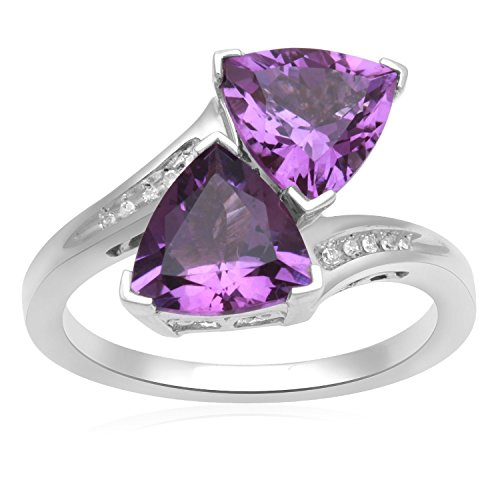 Jewelili Sterling Silver 8x8mm Trillion Amethyst and Round Diamond Accented Bypass Ring, Size 7
