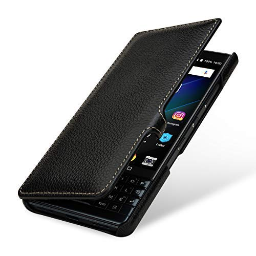StilGut BlackBerry Key2 LE Case. Flip Case for BlackBerry Key 2 LE Made of Genuine Leather, Black with Clasp