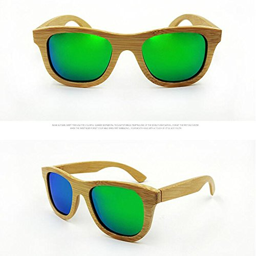 soleil Women Wood Sunglasses Goggles Style Green Men Coating Meijunter Mirrored Retro Bamboo Polarized Lunettes de w075xqg