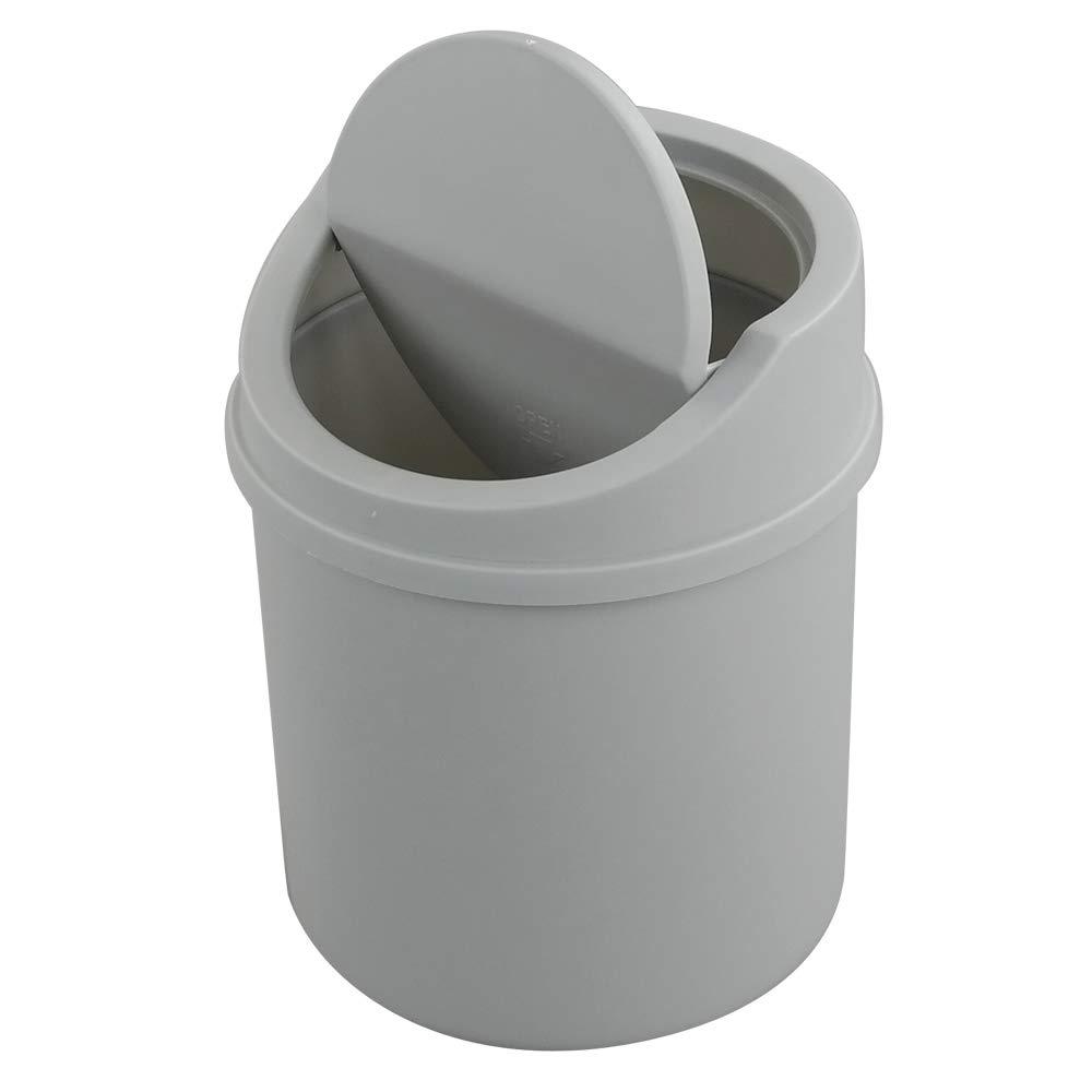 Fiaze Plastic Desktop Mini Trash Can with Swing Lid, Grey