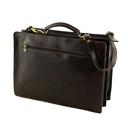 Aktentasche Leder - 4005 Schwarz - Echtes Leder Taschen - Mega Tuscany