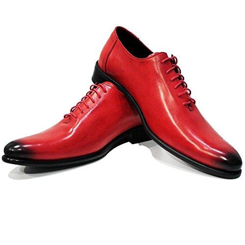 PeppeShoes Modello Rediko - Handmade Italiano da Uomo in Pelle Rosso Scarpe da Sera - Vacchetta Pelle Verniciata a Mano - Allacciare