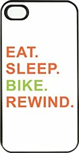 Eat Sleep Bike Rewind Orange & Green PC Black iPhone Case (with bumper) Cover for Apple iPhone 4 & 4s