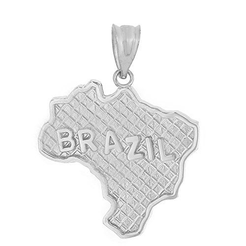 State Collection 925 Sterling Silver Brazil Country Map Charm Pendant