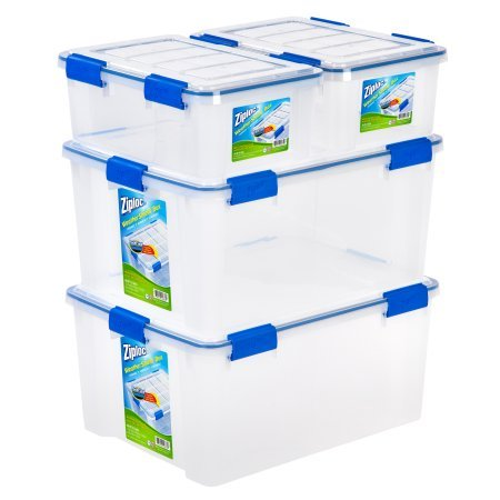 Ziploc 16 and 60 Quart WeatherShield Storage Box, Clear/Pack of 4