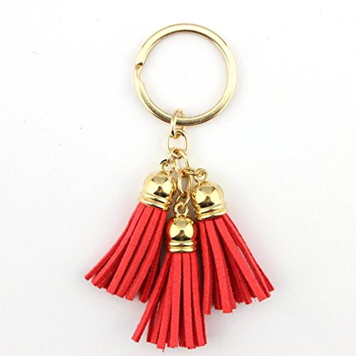 1 Pc Mini Pocket Casual Triple Leather Red Tassel Keychain Keyring Keyfob Tassels Bag Pendant Key Chain Ring Fob Tag Holder Finder Necklace Famous Popular Cute Wristlet Utility Keychains Tool, Type-06