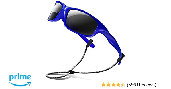 cc95afd2207 Amazon.com  RIVBOS Rubber Kids Polarized Sunglasses With Strap Glasses  Shades for Boys Girls Baby and Children Age 3-10 RBK003 (003-2 Blue)   Clothing