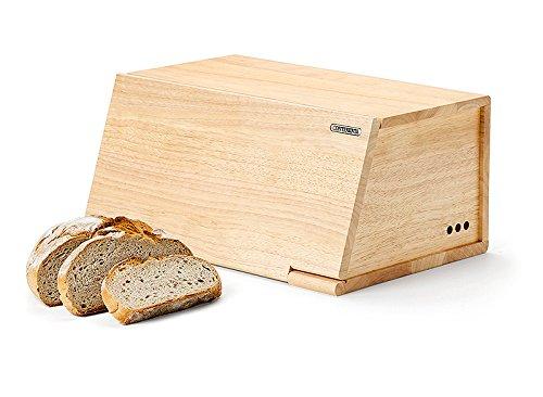 Continenta Bo/îte /à pain en bois de caoutchouc avant Couvercle utilisable comme Planche /à D/écouper sans couteau 40/x 26/x 18,5/cm Taille