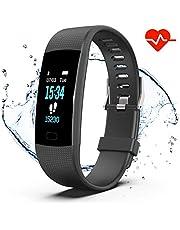 Impermeable IP67 Pulsera Actividad con Pulsómetro Mujer Hombre, Monitor de Actividad Deportiva, Ritmo Cardíaco, Reloj Fitness, smartwatch con Podómetro