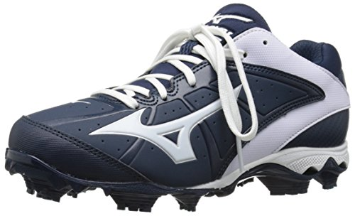 Mizuno Women's 9 Spike ADV Finch Elite 2 Fast Pitch Molded Softball Cleat, Navy/White, 7 M US - Mizuno Womens 9 Spike