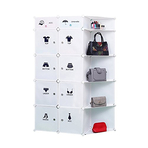 Portable DIY Storage Cabinet,Cubby Shelving Modular 15 Cube Storage Space Saving Wardrobe Closets with Stickers for Bedroom Clothes Shoes Toys (White)