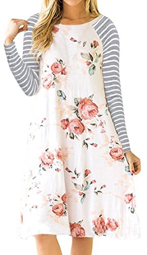def9fe65cf37 VIISHOW Women Floral Print Long Sleeve Casual T-shirt Dress with Pockets