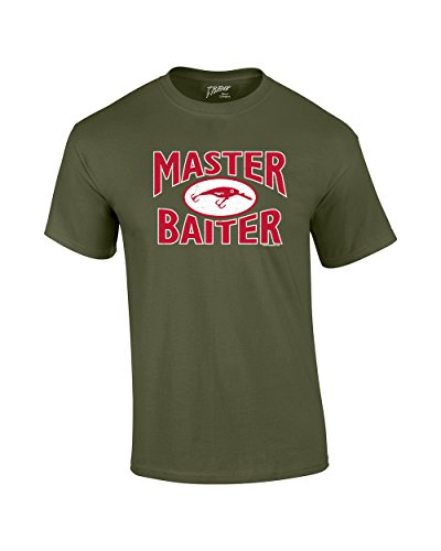 Fishing T-Shirt Master Baiter Hook Lure-Army-XXXL (Best Trawler For The Money)
