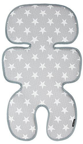 (Manito Clean Basic 3D Mesh Seat Pad/Cushion/Liner for Stroller and Car Seat (Star Grey))